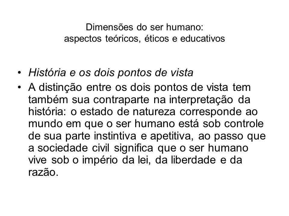 Dimensões do ser humano: aspectos teóricos, éticos e educativos História e os dois pontos de vista A distinção entre os dois pontos de vista tem també