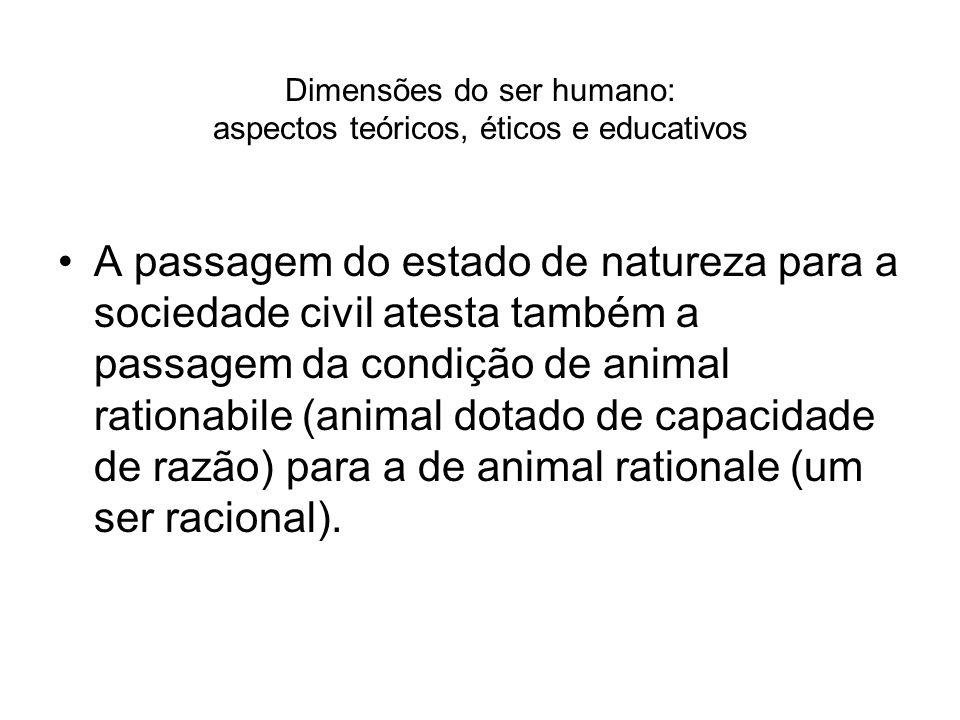 Dimensões do ser humano: aspectos teóricos, éticos e educativos A passagem do estado de natureza para a sociedade civil atesta também a passagem da co