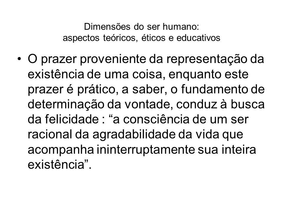 Dimensões do ser humano: aspectos teóricos, éticos e educativos O prazer proveniente da representação da existência de uma coisa, enquanto este prazer