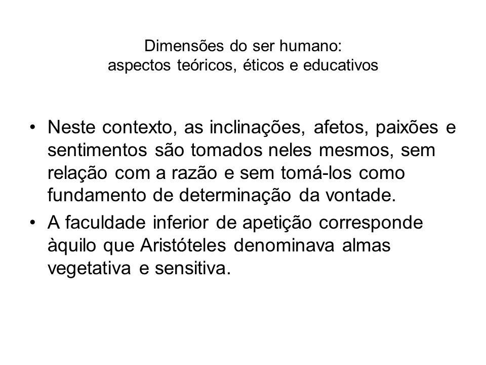 Dimensões do ser humano: aspectos teóricos, éticos e educativos Neste contexto, as inclinações, afetos, paixões e sentimentos são tomados neles mesmos