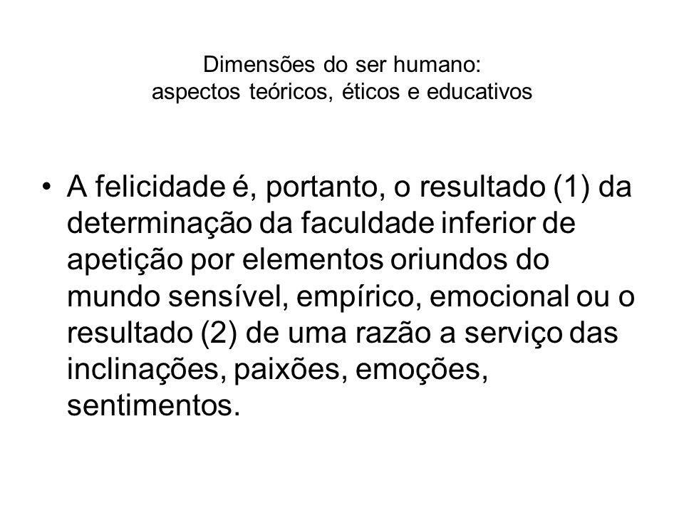 Dimensões do ser humano: aspectos teóricos, éticos e educativos A felicidade é, portanto, o resultado (1) da determinação da faculdade inferior de ape