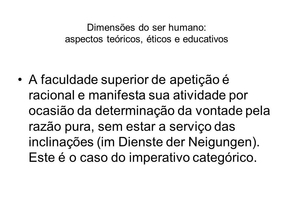 Dimensões do ser humano: aspectos teóricos, éticos e educativos A faculdade superior de apetição é racional e manifesta sua atividade por ocasião da d