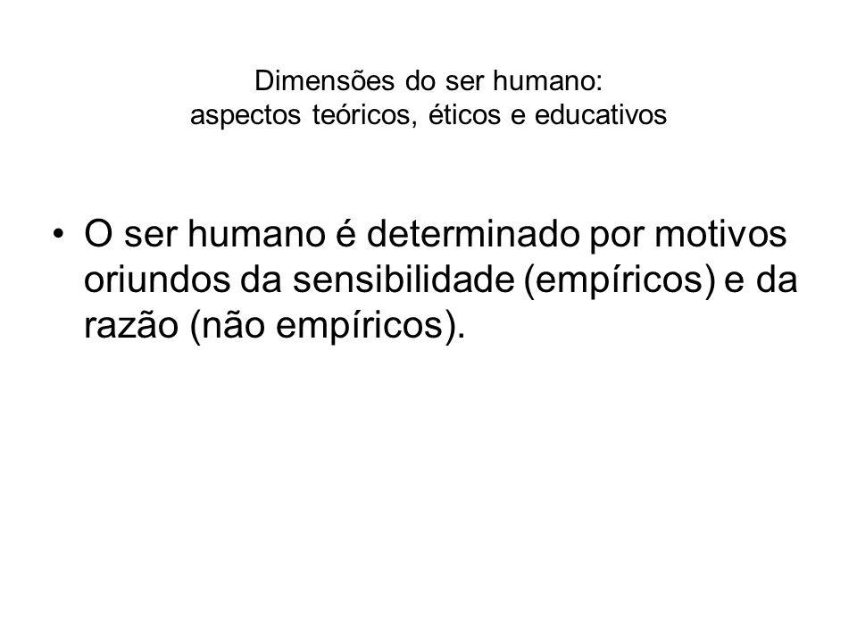 Dimensões do ser humano: aspectos teóricos, éticos e educativos O ser humano é determinado por motivos oriundos da sensibilidade (empíricos) e da razã