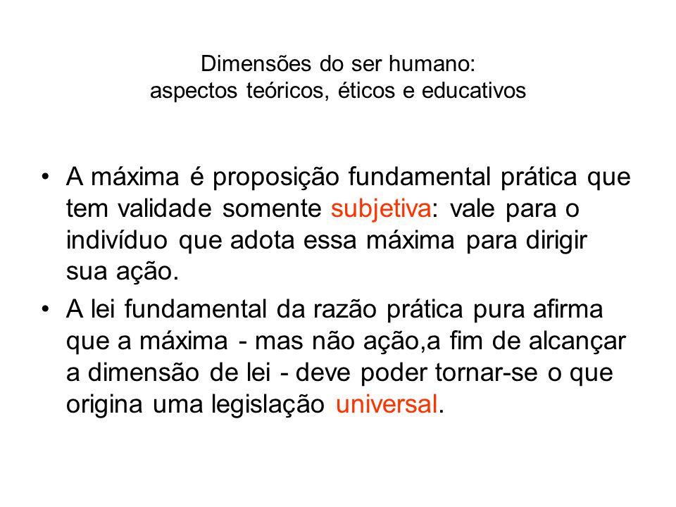Dimensões do ser humano: aspectos teóricos, éticos e educativos A máxima é proposição fundamental prática que tem validade somente subjetiva: vale par