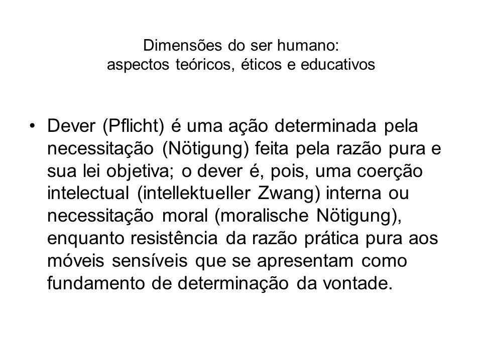 Dimensões do ser humano: aspectos teóricos, éticos e educativos Dever (Pflicht) é uma ação determinada pela necessitação (Nötigung) feita pela razão p