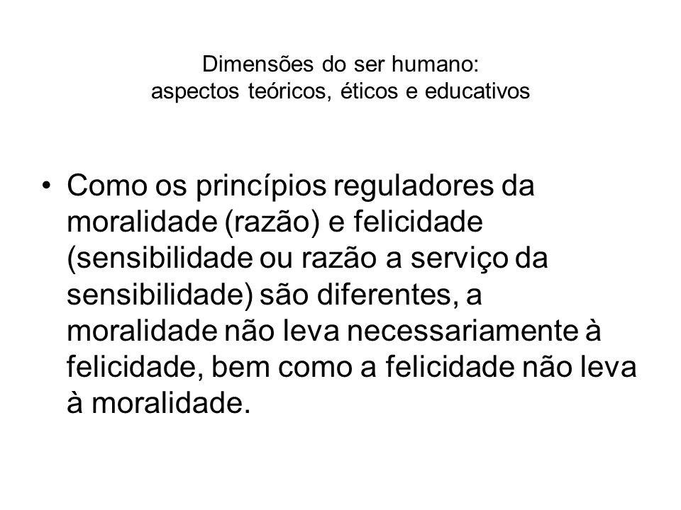 Dimensões do ser humano: aspectos teóricos, éticos e educativos Como os princípios reguladores da moralidade (razão) e felicidade (sensibilidade ou ra