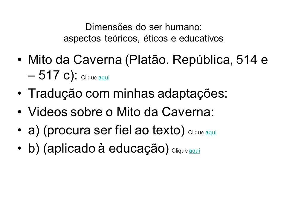 Mito da Caverna (Platão. República, 514 e – 517 c): Clique aquiaqui Tradução com minhas adaptações: Videos sobre o Mito da Caverna: a) (procura ser fi