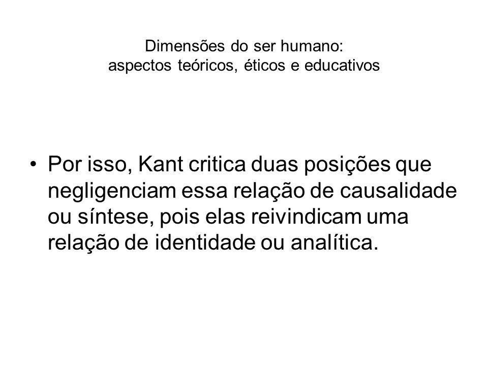 Dimensões do ser humano: aspectos teóricos, éticos e educativos Por isso, Kant critica duas posições que negligenciam essa relação de causalidade ou s