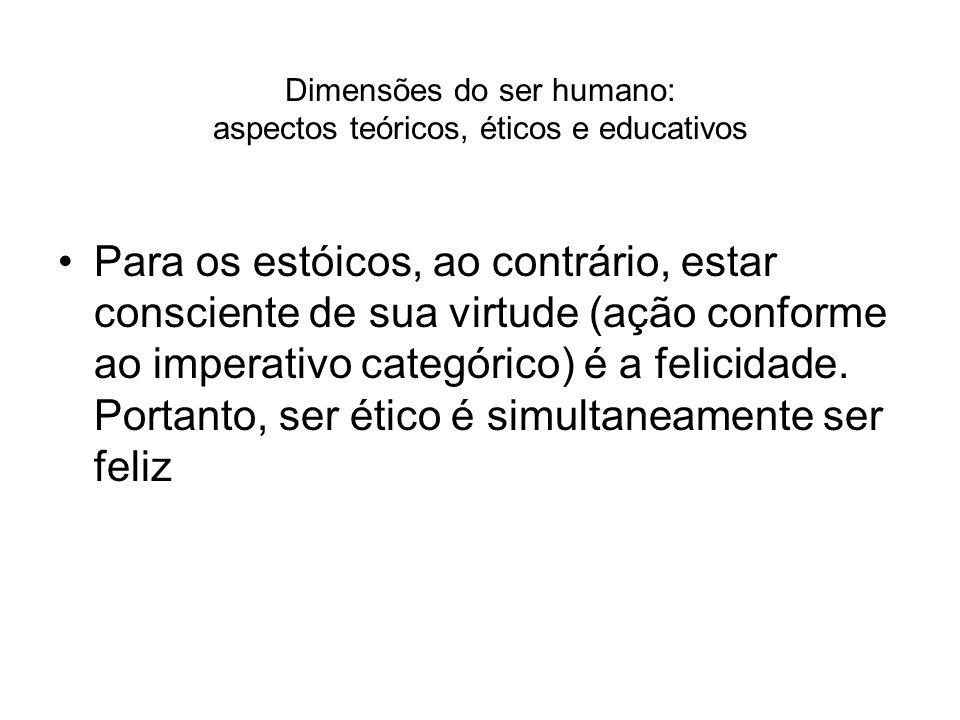 Dimensões do ser humano: aspectos teóricos, éticos e educativos Para os estóicos, ao contrário, estar consciente de sua virtude (ação conforme ao impe