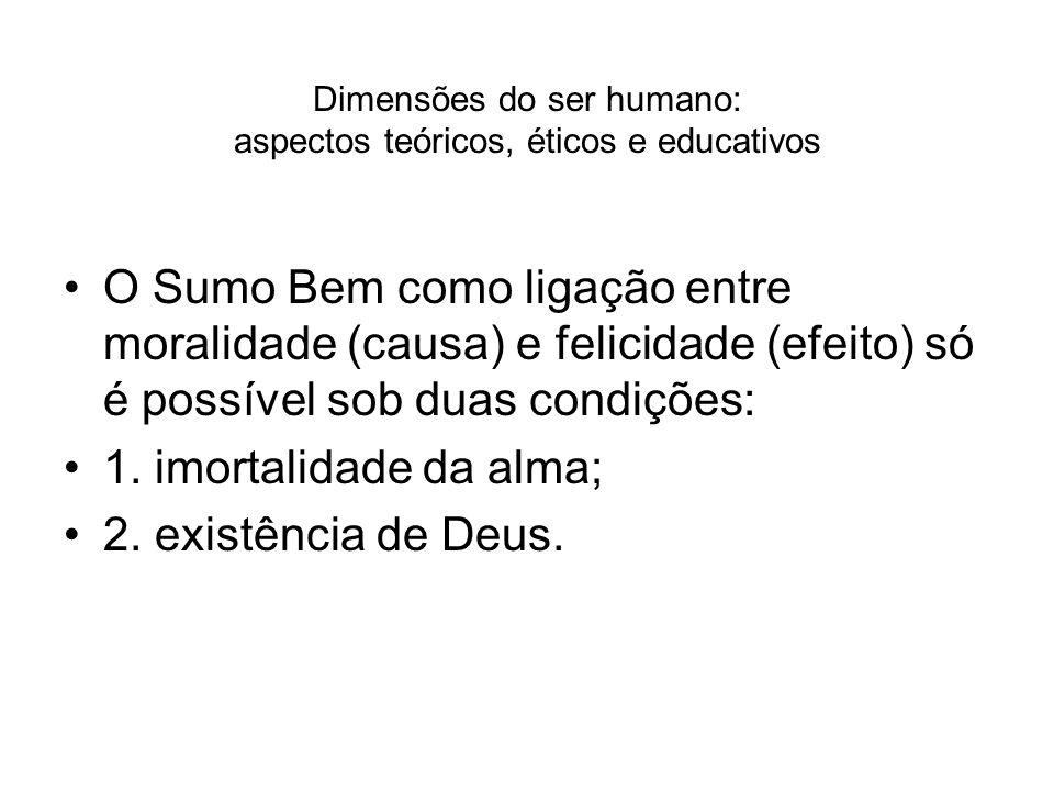 Dimensões do ser humano: aspectos teóricos, éticos e educativos O Sumo Bem como ligação entre moralidade (causa) e felicidade (efeito) só é possível s