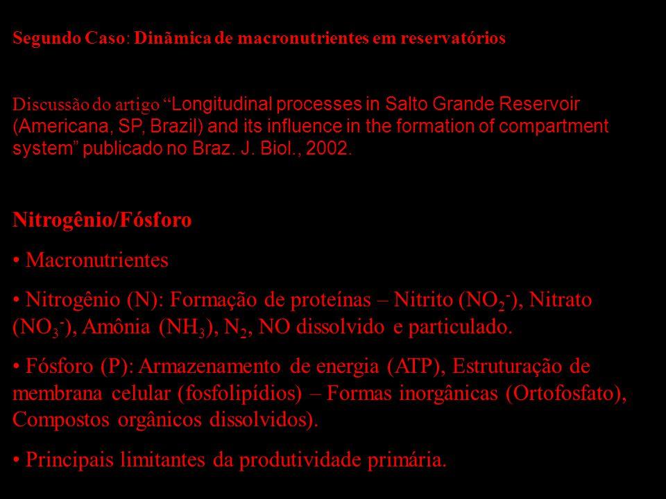 Segundo Caso: Dinãmica de macronutrientes em reservatórios Discussão do artigo Longitudinal processes in Salto Grande Reservoir (Americana, SP, Brazil