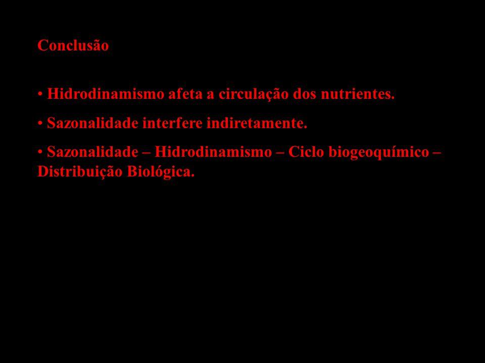 Conclusão Hidrodinamismo afeta a circulação dos nutrientes. Sazonalidade interfere indiretamente. Sazonalidade – Hidrodinamismo – Ciclo biogeoquímico