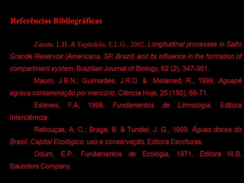Referências Bibliográficas Zanata, L.H. & Espíndola, E.L.G., 2002, Longitudinal processes in Salto Grande Reservoir (Americana, SP, Brazil) and its in