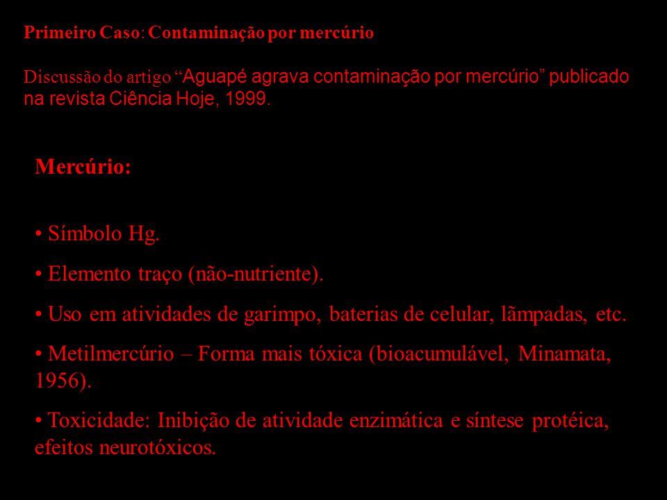 Primeiro Caso: Contaminação por mercúrio Discussão do artigo Aguapé agrava contaminação por mercúrio publicado na revista Ciência Hoje, 1999. Mercúrio