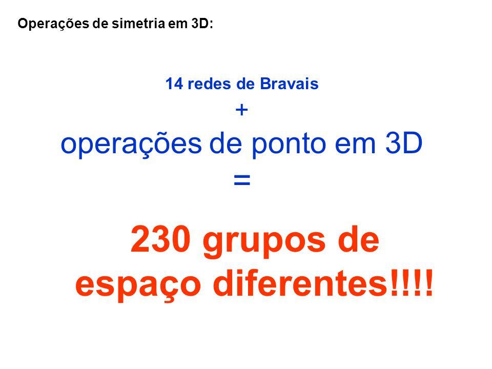 Operações de simetria em 3D: 14 redes de Bravais + operações de ponto em 3D = 230 grupos de espaço diferentes!!!!