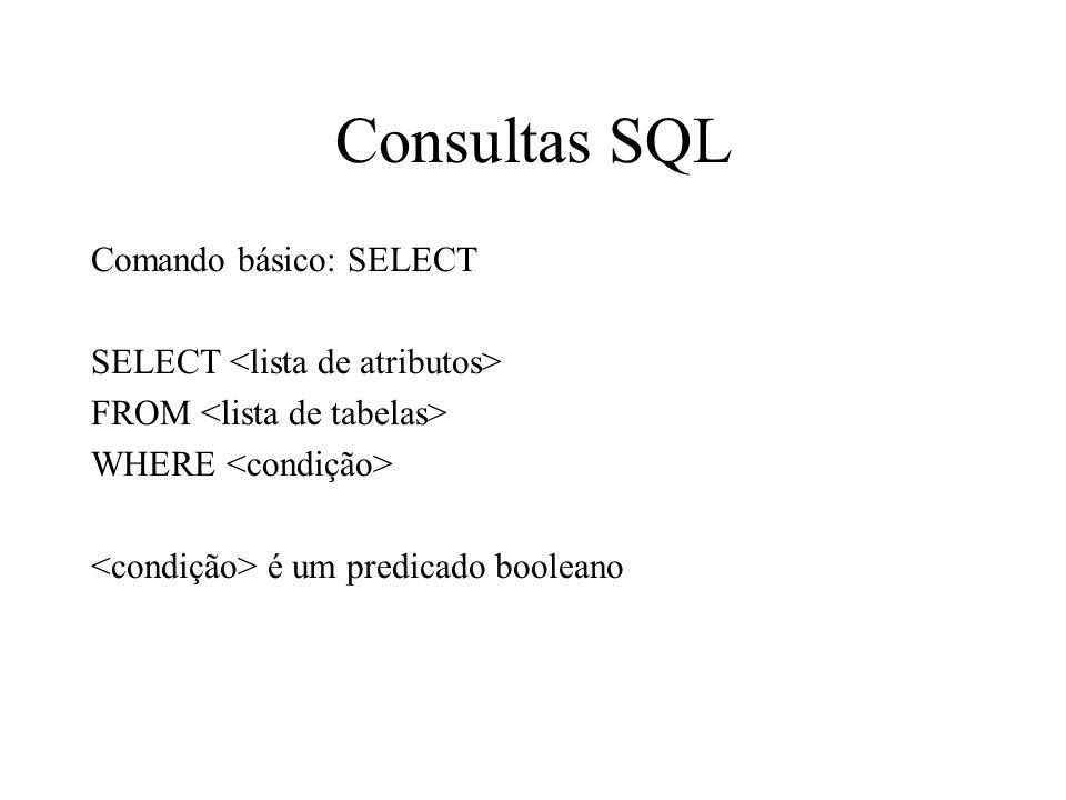 Consultas SQL Comando básico: SELECT SELECT FROM WHERE é um predicado booleano