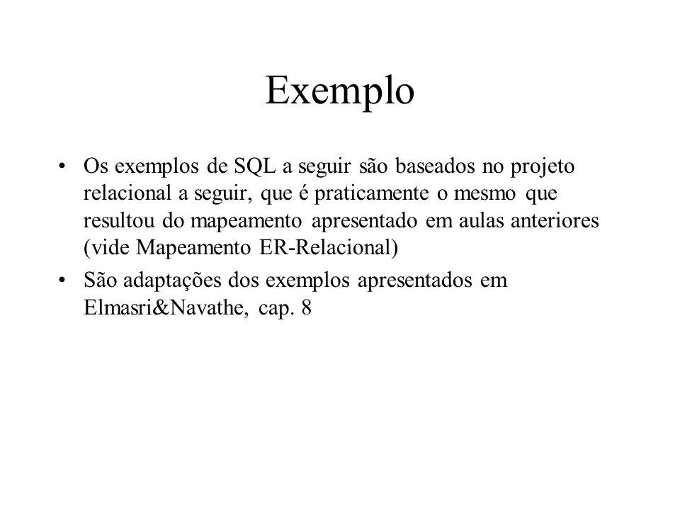 Exemplo Os exemplos de SQL a seguir são baseados no projeto relacional a seguir, que é praticamente o mesmo que resultou do mapeamento apresentado em