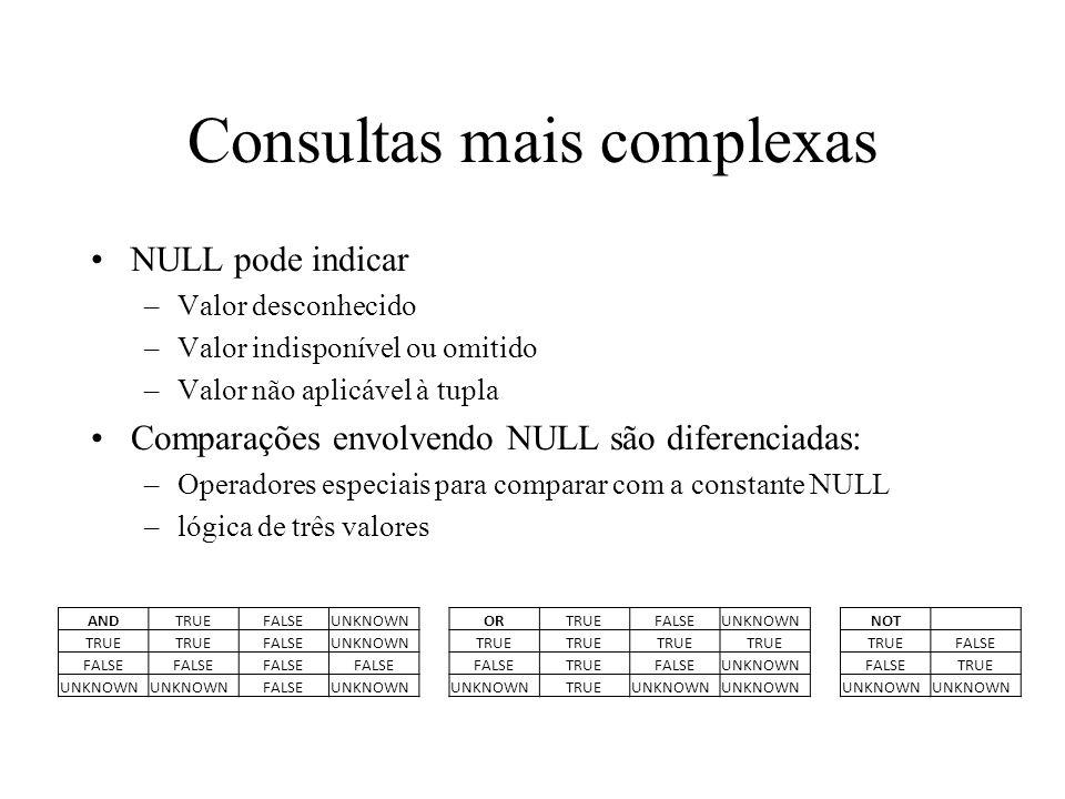 Consultas mais complexas NULL pode indicar –Valor desconhecido –Valor indisponível ou omitido –Valor não aplicável à tupla Comparações envolvendo NULL