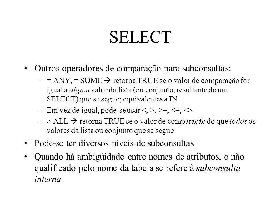 SELECT Outros operadores de comparação para subconsultas: –= ANY, = SOME retorna TRUE se o valor de comparação for igual a algum valor da lista (ou co