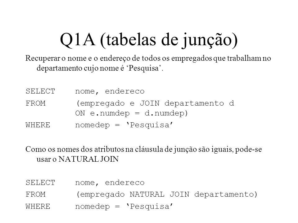 Q1A (tabelas de junção) Recuperar o nome e o endereço de todos os empregados que trabalham no departamento cujo nome é Pesquisa. SELECT nome, endereco