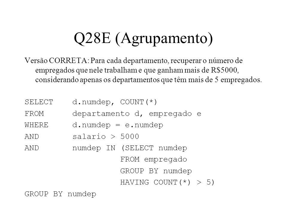 Q28E (Agrupamento) Versão CORRETA: Para cada departamento, recuperar o número de empregados que nele trabalham e que ganham mais de R$5000, consideran