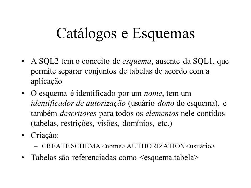 Catálogos e Esquemas No SQL2, um catálogo é uma coleção de esquemas Além dos esquemas criados pelo usuário, o catálogo inclui um esquema especial (INFORMATION_SCHEMA) que fornece informação sobre todos os descritores de todos os esquemas contidos no catálogo para usuários autorizados Esquemas contidos no mesmo catálogo podem compartilhar alguns elementos, tais como descritores de domínio