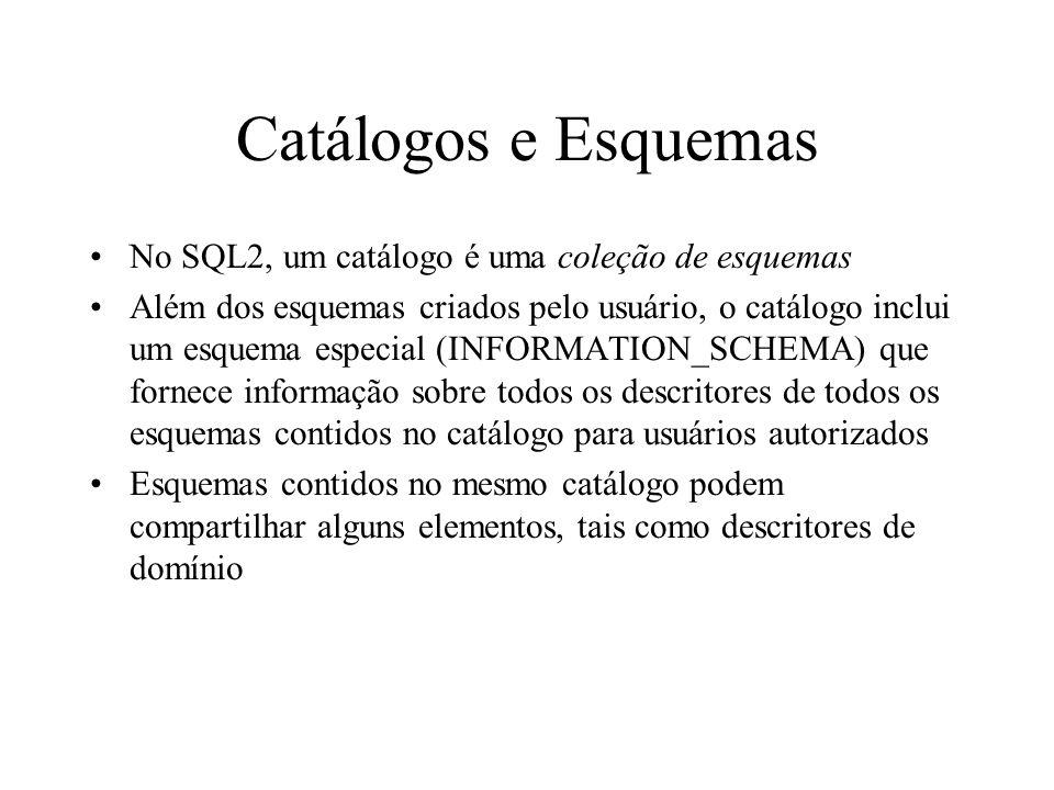 SELECT Ordenação –Cláusula ORDER BY –ORDER BY [DESC | ASC] [, [DESC | ASC]] –ASC é o default –SELECT * FROM EMPREGADO WHERE NUMDEP = 5 ORDER BY SALARIO DESC; Observar que o retorno ordenado de uma consulta não depende da indexação da tabela A criação de índices é uma decisão de implementação, e inclusive não é parte (formal) da SQL