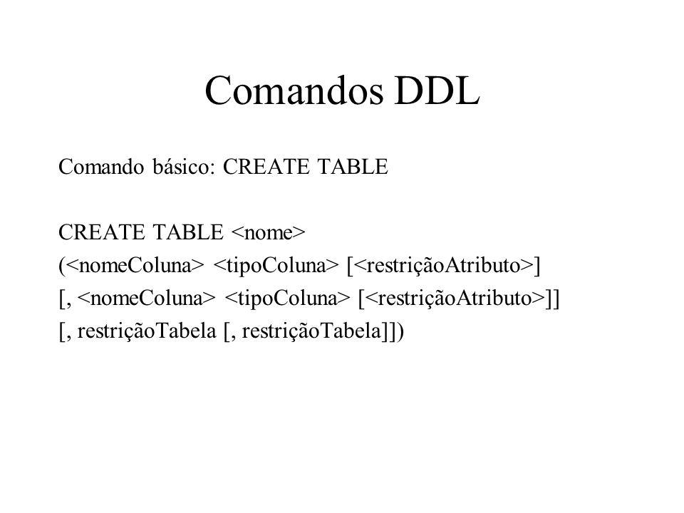 Comandos DDL Comando básico: CREATE TABLE CREATE TABLE ( [ ] [, [ ]] [, restriçãoTabela [, restriçãoTabela]])