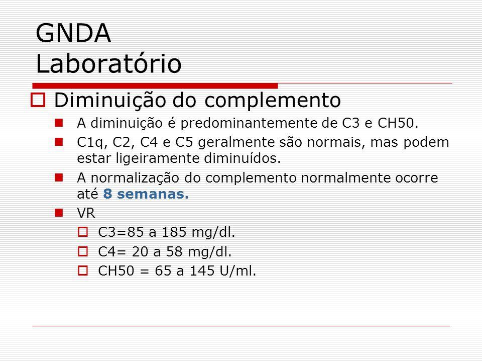 Diminuição do complemento A diminuição é predominantemente de C3 e CH50. C1q, C2, C4 e C5 geralmente são normais, mas podem estar ligeiramente diminuí