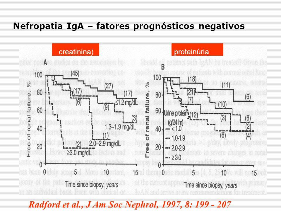 Radford et al., J Am Soc Nephrol, 1997, 8: 199 - 207 creatinina)proteinúria Nefropatia IgA – fatores prognósticos negativos