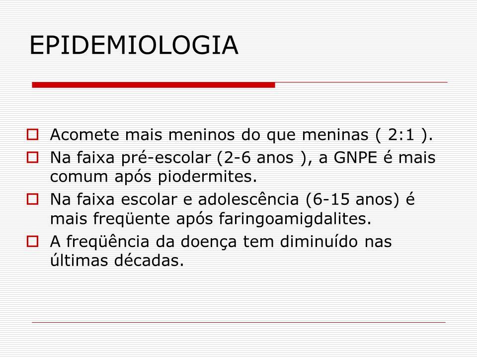 EPIDEMIOLOGIA Acomete mais meninos do que meninas ( 2:1 ). Na faixa pré-escolar (2-6 anos ), a GNPE é mais comum após piodermites. Na faixa escolar e