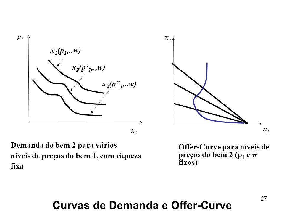 27 x2x2 x1x1 Curvas de Demanda e Offer-Curve p2p2 x2x2 x 2 (p 1,.,w) Demanda do bem 2 para vários níveis de preços do bem 1, com riqueza fixa Offer-Curve para níveis de preços do bem 2 (p 1 e w fixos)
