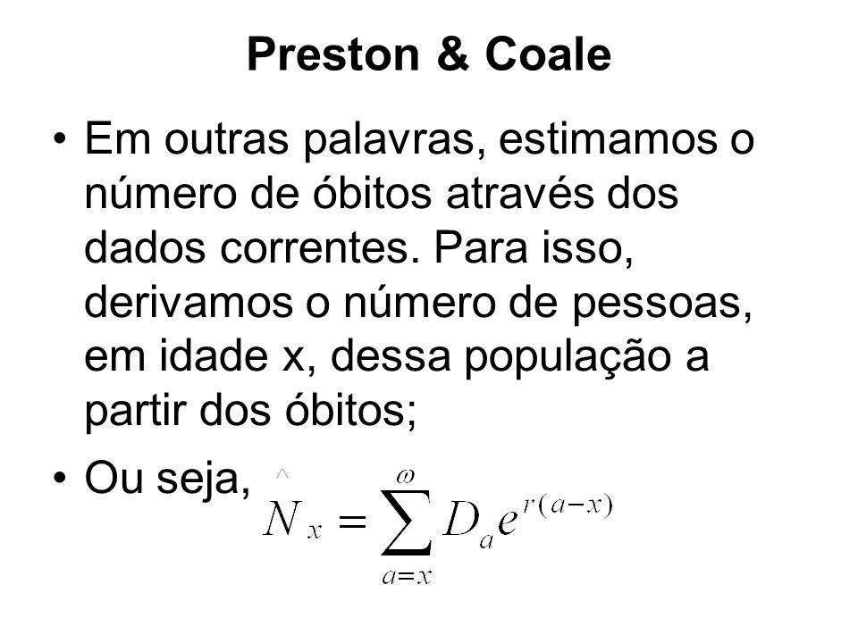 Preston & Coale Em outras palavras, estimamos o número de óbitos através dos dados correntes.