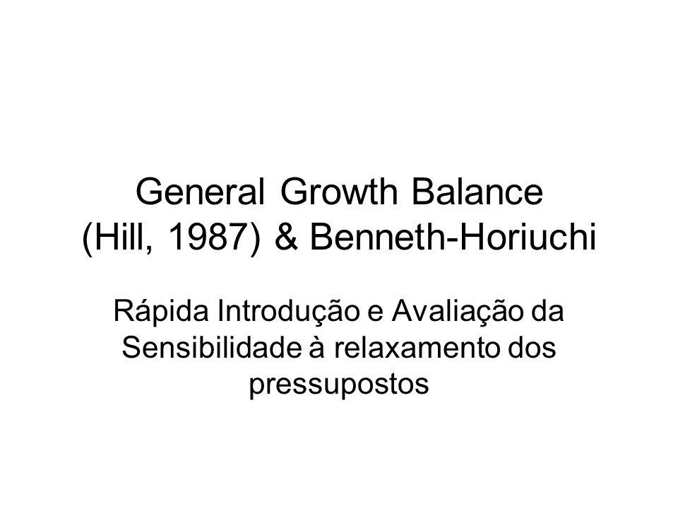 General Growth Balance (Hill, 1987) & Benneth-Horiuchi Rápida Introdução e Avaliação da Sensibilidade à relaxamento dos pressupostos