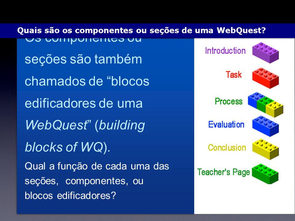 Qual a função de cada uma das seções, componentes, ou blocos edificadores? Os componentes ou seções são também chamados de blocos edificadores de uma