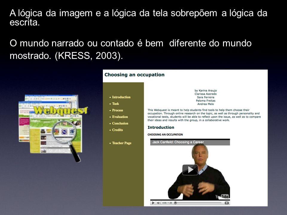 A lógica da imagem e a lógica da tela sobrepõem a lógica da escrita. O mundo narrado ou contado é bem diferente do mundo mostrado. (KRESS, 2003).