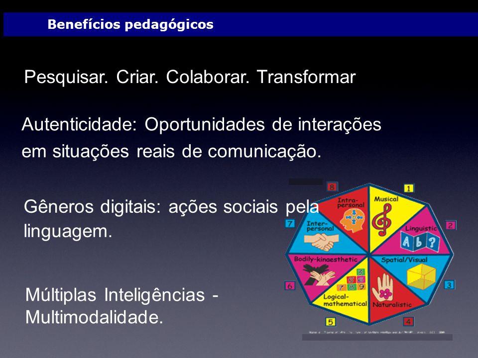 Pesquisar. Criar. Colaborar. Transformar Autenticidade: Oportunidades de interações em situações reais de comunicação. Múltiplas Inteligências - Multi
