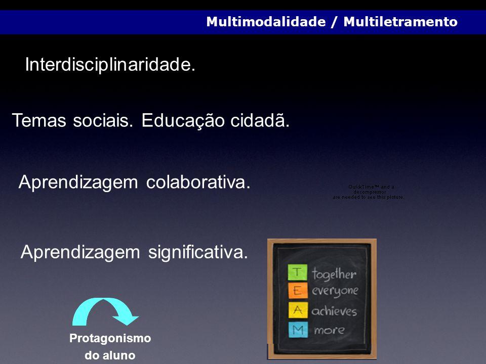 Interdisciplinaridade. Temas sociais. Educação cidadã. Aprendizagem colaborativa. Aprendizagem significativa. Multimodalidade / Multiletramento Protag