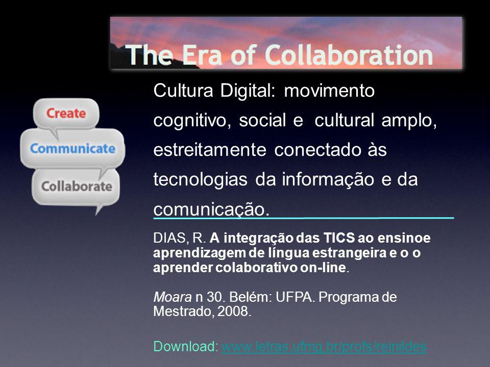 DIAS, R. A integração das TICS ao ensinoe aprendizagem de língua estrangeira e o o aprender colaborativo on-line. Moara n 30. Belém: UFPA. Programa de
