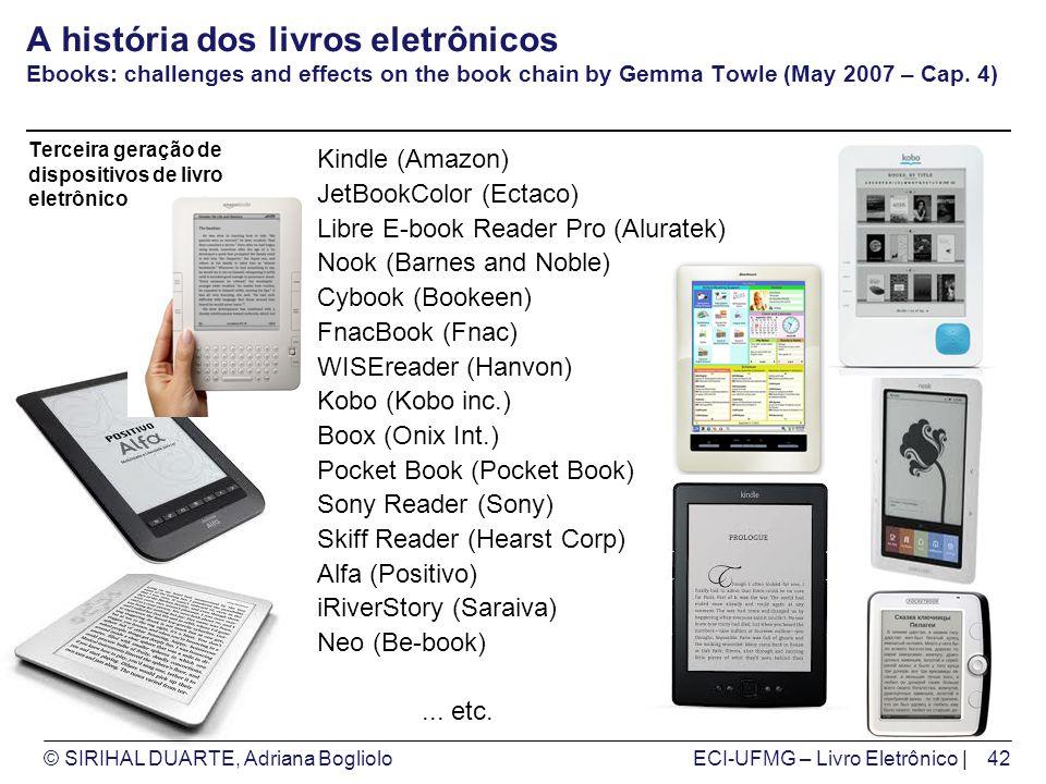 © SIRIHAL DUARTE, Adriana BoglioloECI-UFMG – Livro Eletrônico | A história dos livros eletrônicos Ebooks: challenges and effects on the book chain by