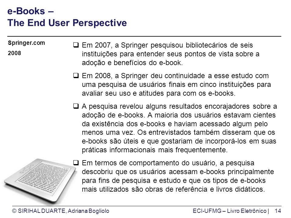 © SIRIHAL DUARTE, Adriana BoglioloECI-UFMG – Livro Eletrônico | e-Books – The End User Perspective Em 2007, a Springer pesquisou bibliotecários de seis instituições para entender seus pontos de vista sobre a adoção e benefícios do e-book.