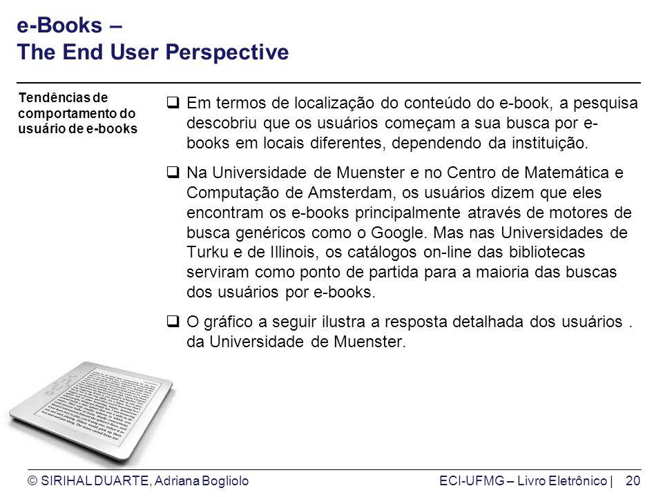 © SIRIHAL DUARTE, Adriana BoglioloECI-UFMG – Livro Eletrônico | e-Books – The End User Perspective Em termos de localização do conteúdo do e-book, a pesquisa descobriu que os usuários começam a sua busca por e- books em locais diferentes, dependendo da instituição.