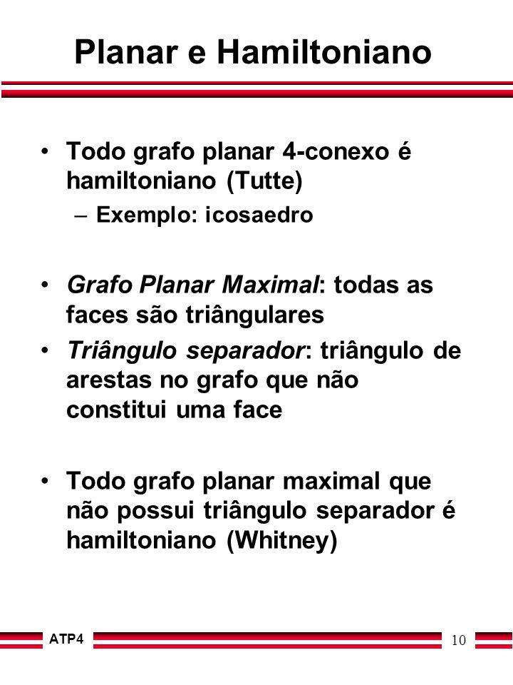 ATP4 10 Planar e Hamiltoniano Todo grafo planar 4-conexo é hamiltoniano (Tutte) –Exemplo: icosaedro Grafo Planar Maximal: todas as faces são triângula