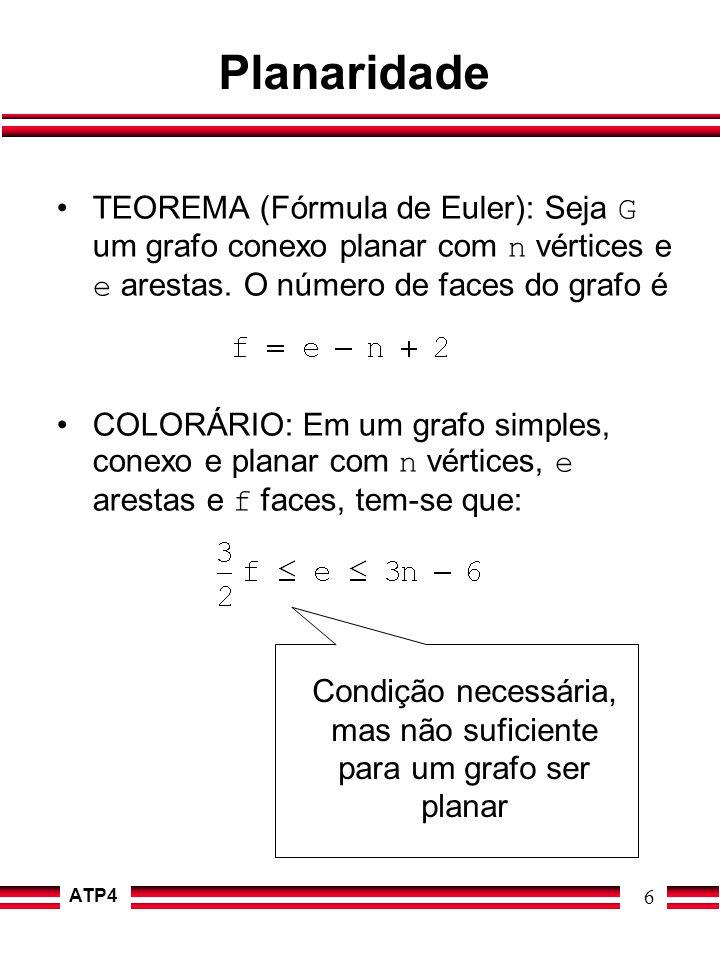 ATP4 6 Planaridade TEOREMA (Fórmula de Euler): Seja G um grafo conexo planar com n vértices e e arestas. O número de faces do grafo é COLORÁRIO: Em um