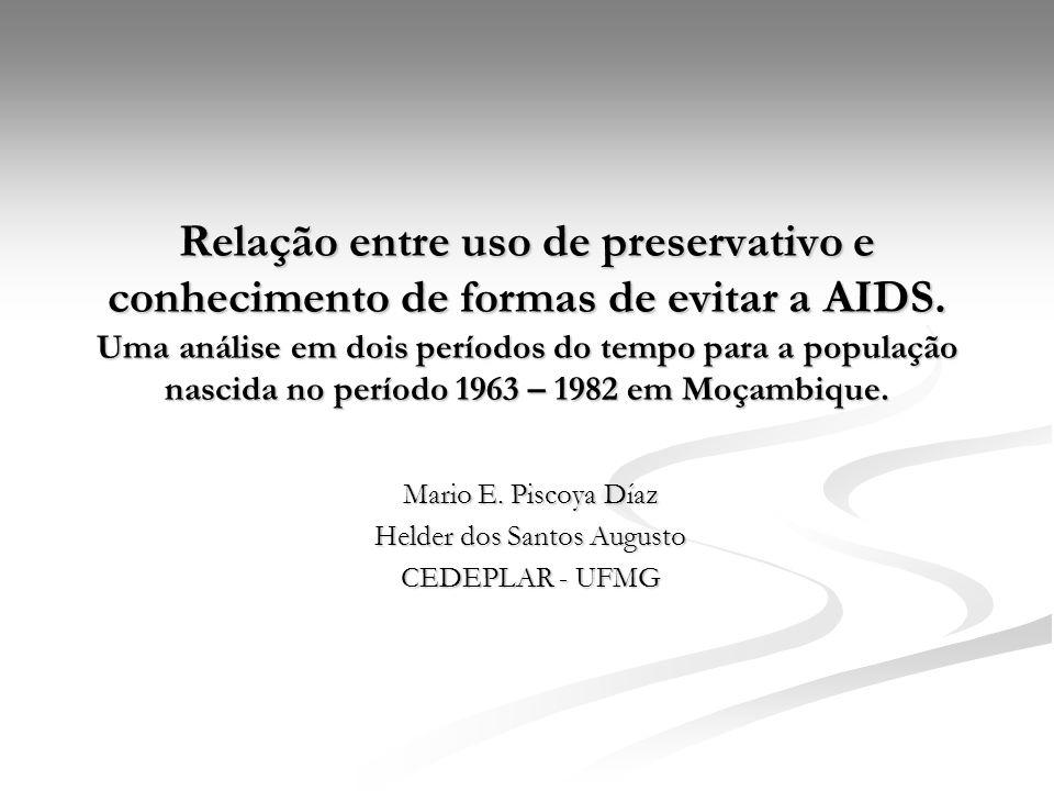 Relação entre uso de preservativo e conhecimento de formas de evitar a AIDS. Uma análise em dois períodos do tempo para a população nascida no período
