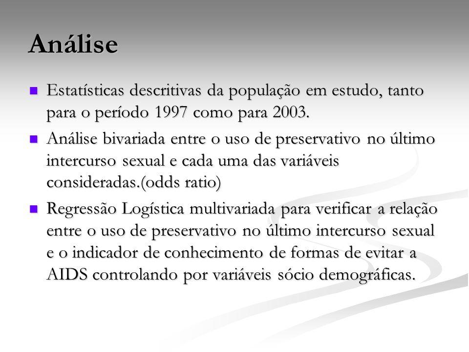 Análise Estatísticas descritivas da população em estudo, tanto para o período 1997 como para 2003. Estatísticas descritivas da população em estudo, ta