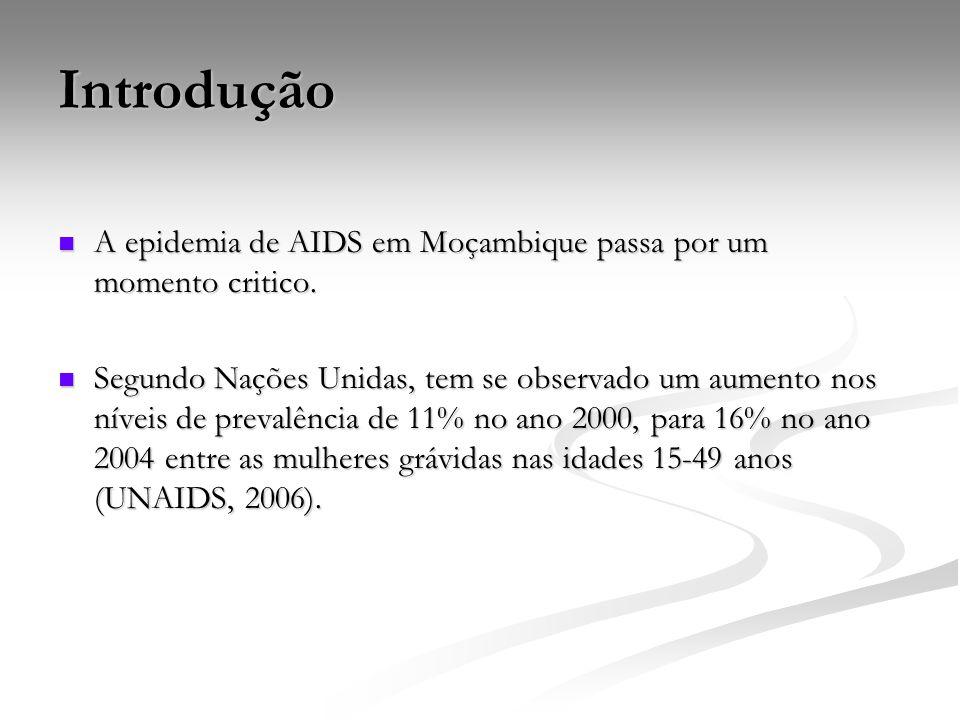 Introdução A epidemia de AIDS em Moçambique passa por um momento critico. A epidemia de AIDS em Moçambique passa por um momento critico. Segundo Naçõe