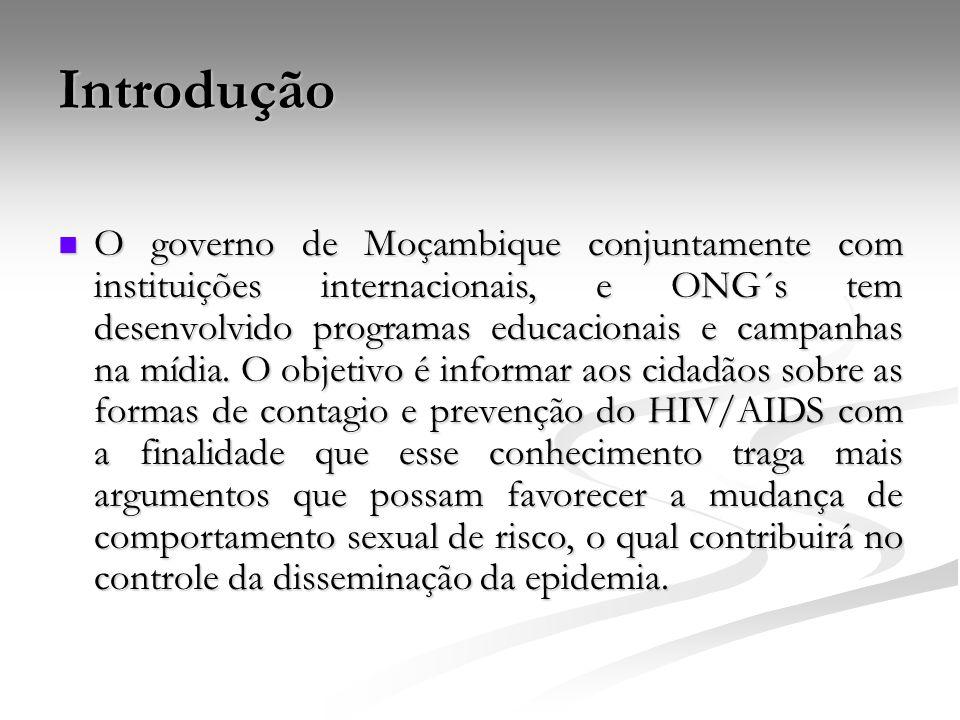 Introdução O governo de Moçambique conjuntamente com instituições internacionais, e ONG´s tem desenvolvido programas educacionais e campanhas na mídia