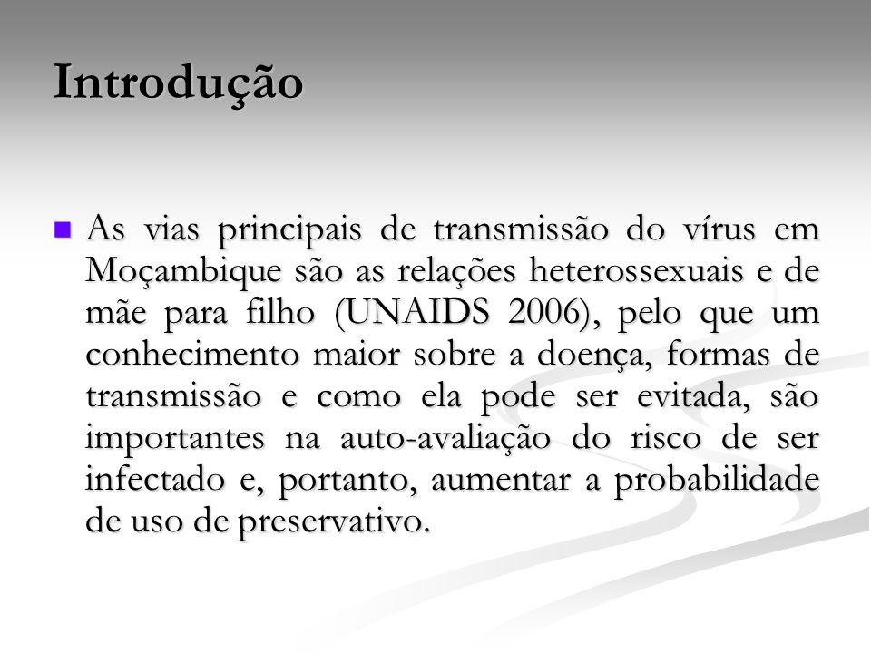 Introdução As vias principais de transmissão do vírus em Moçambique são as relações heterossexuais e de mãe para filho (UNAIDS 2006), pelo que um conh