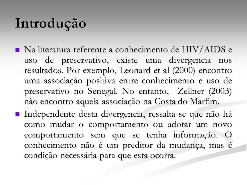 Introdução Na literatura referente a conhecimento de HIV/AIDS e uso de preservativo, existe uma divergencia nos resultados. Por exemplo, Leonard et al